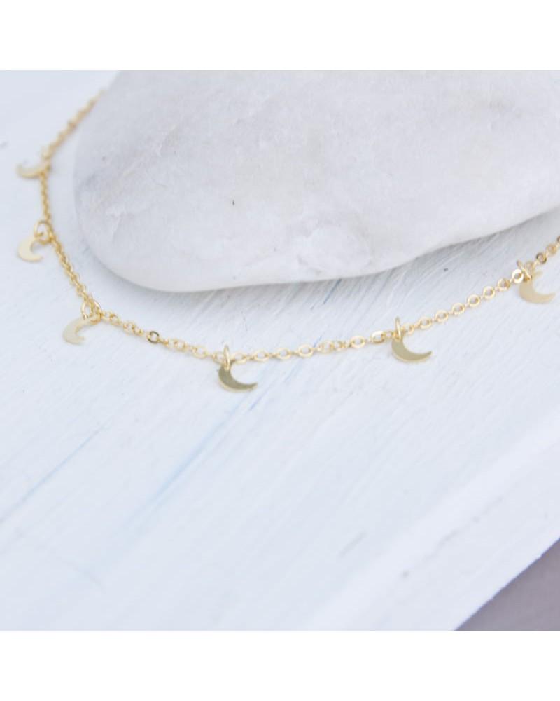 collar lunas de plata amarilla