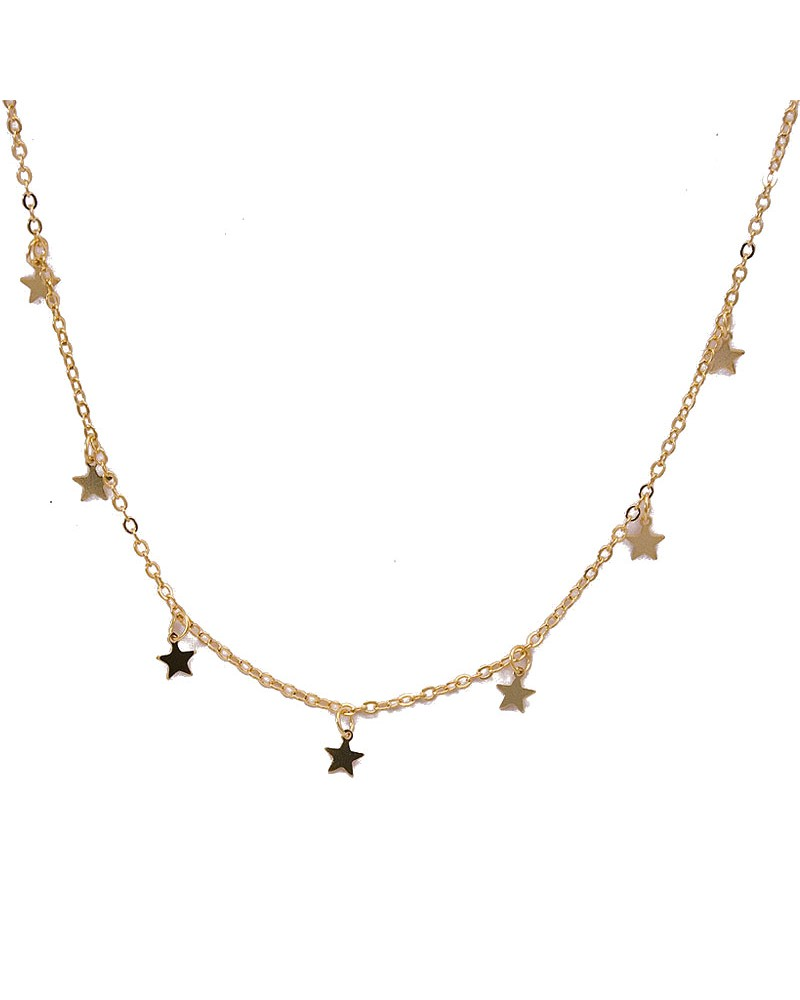 Collar estrellas de plata amarilla