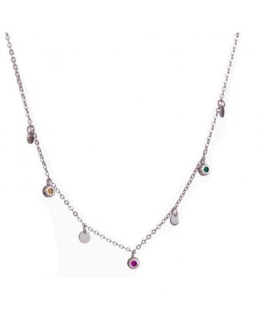 collar de plata con circonitas de colores