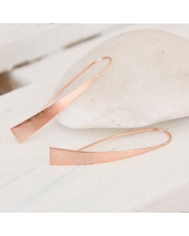 pendientes plata satinados color oro rosa