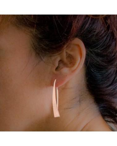 Pendientes satinados color oro rosa